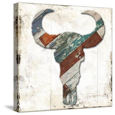 Wooden Bull Head-Jace Grey-Stretched Canvas Print