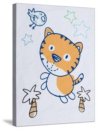 Playful Tiger-Marcus Prime-Stretched Canvas Print