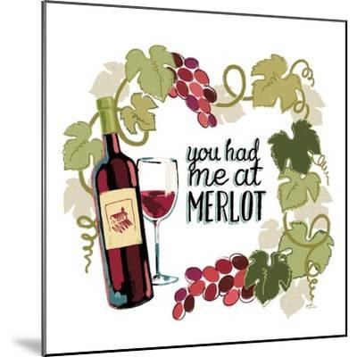 Wine and Friends II on White-Janelle Penner-Mounted Art Print