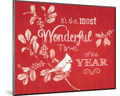 Chalkboard Christmas Sayings VI on red-Beth Grove-Mounted Art Print