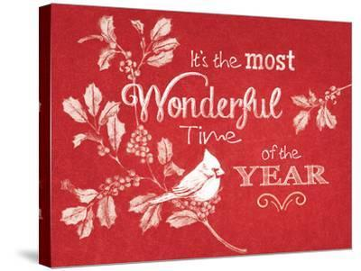 Chalkboard Christmas Sayings VI on red-Beth Grove-Stretched Canvas Print
