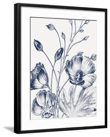 Botanical Beauty Chalk IX Blue on White Crop-Wild Apple Portfolio-Framed Art Print