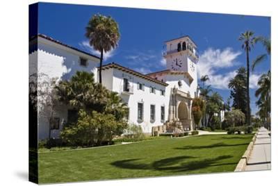Beautiful Courthouse Santa Barbara California-George Oze-Stretched Canvas Print