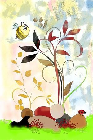 The Bee And The Ladybug-Ruth Palmer-Framed Art Print