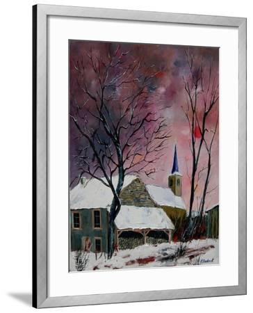 snow in sevry village ardennes-Pol Ledent-Framed Art Print