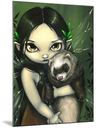 A Ferret and his Fairy-Jasmine Becket-Griffith-Mounted Art Print