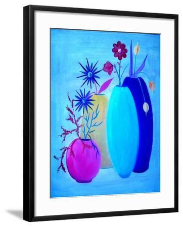 Funky Floral Blue-Ruth Palmer Digital-Framed Art Print