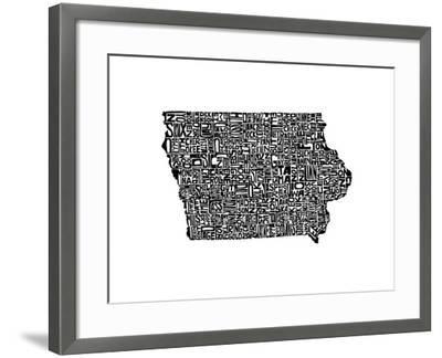 Typographic Iowa-CAPow-Framed Art Print
