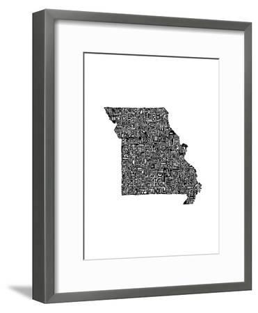 Typographic Missouri-CAPow-Framed Art Print