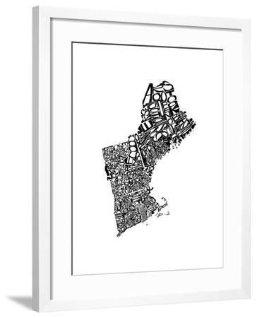 Typographic New England-CAPow-Framed Art Print