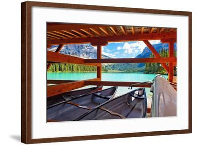 Boathouse on Emerald Lake, Canada-George Oze-Framed Photographic Print