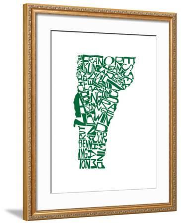 Typographic Vermont Green-CAPow-Framed Art Print