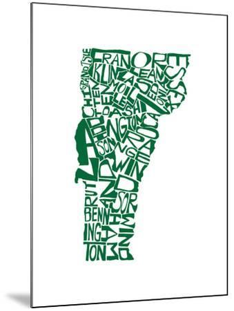 Typographic Vermont Green-CAPow-Mounted Art Print