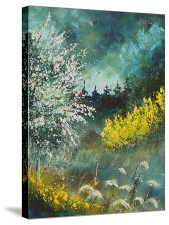 Hawthorne and brooms-Pol Ledent-Stretched Canvas Print