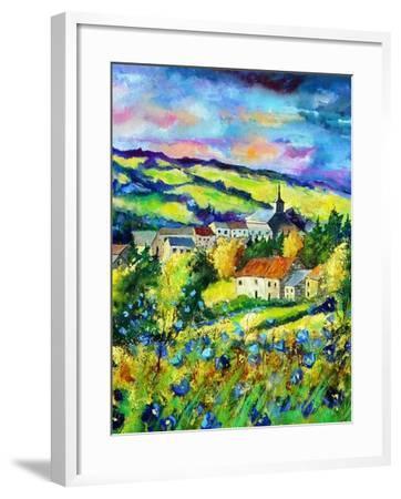 Landscape summer blue poppies village Belgium-Pol Ledent-Framed Art Print