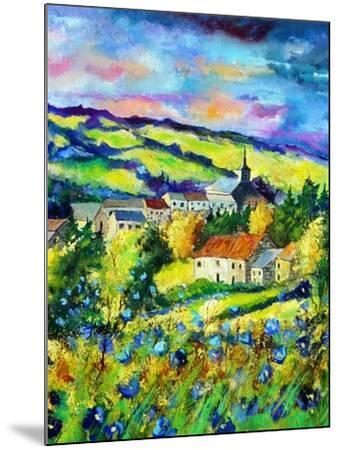 Landscape summer blue poppies village Belgium-Pol Ledent-Mounted Art Print