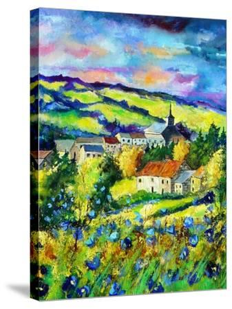 Landscape summer blue poppies village Belgium-Pol Ledent-Stretched Canvas Print