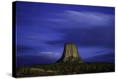 Devils Tower Sunset & Star Trails-Steve Gadomski-Stretched Canvas Print