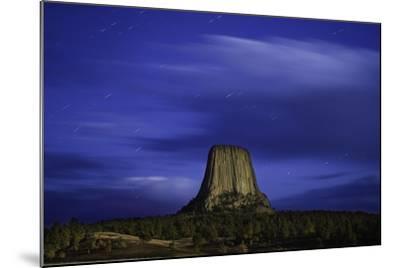 Devils Tower Sunset & Star Trails-Steve Gadomski-Mounted Photographic Print