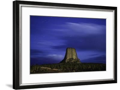 Devils Tower Sunset & Star Trails-Steve Gadomski-Framed Photographic Print