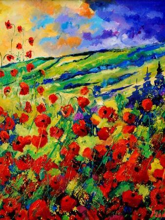 red poppies-Pol Ledent-Stretched Canvas Print