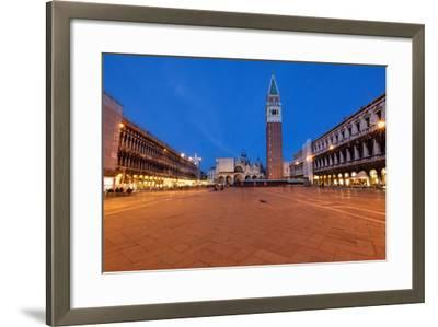 St Marks Square at Night, Venice, Italy-George Oze-Framed Photographic Print
