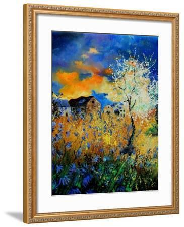 Blue wild flowers and blooming tree-Pol Ledent-Framed Art Print