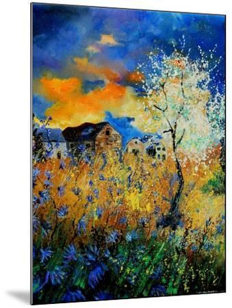 Blue wild flowers and blooming tree-Pol Ledent-Mounted Art Print