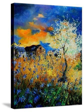 Blue wild flowers and blooming tree-Pol Ledent-Stretched Canvas Print