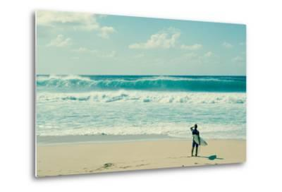 Surfer standing on the beach, North Shore, Oahu, Hawaii, USA--Metal Print