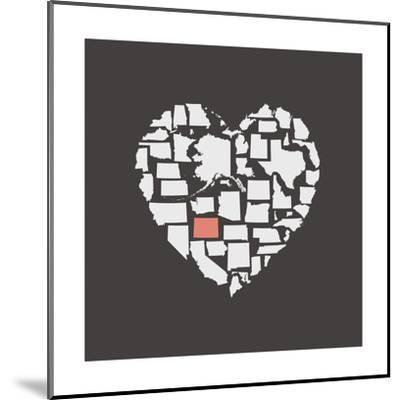 Black USA Heart Graphic Print Featuring Colorado-Kindred Sol Collective-Mounted Art Print