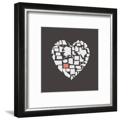 Black USA Heart Graphic Print Featuring Colorado-Kindred Sol Collective-Framed Art Print