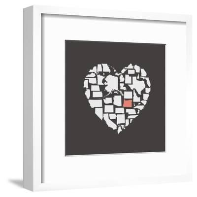 Black USA Heart Graphic Print Featuring Oregon-Kindred Sol Collective-Framed Art Print