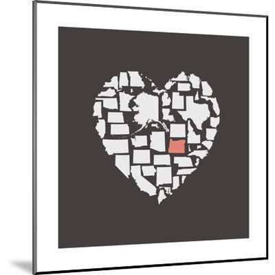 Black USA Heart Graphic Print Featuring Oregon-Kindred Sol Collective-Mounted Art Print