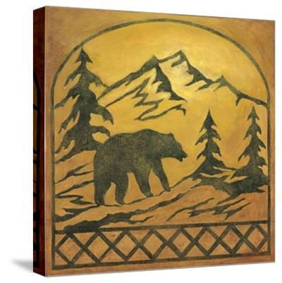 Lodge Bear Silhouette-Chariklia Zarris-Stretched Canvas Print
