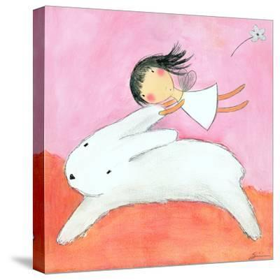 Fairy on Hare-Carla Sonheim-Stretched Canvas Print
