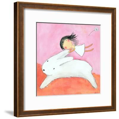 Fairy on Hare-Carla Sonheim-Framed Art Print
