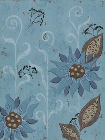 Whimsical Blue Floral II-Jade Reynolds-Framed Art Print