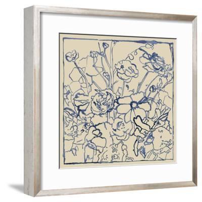 Indigo Floral Sketch II-Megan Meagher-Framed Art Print