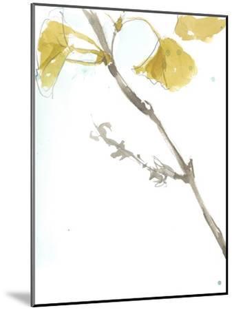 Ginkgo on Dusty Teal VI-Jennifer Goldberger-Mounted Premium Giclee Print