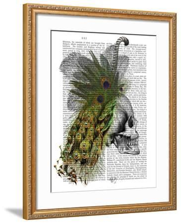 Skull With Feather Headress-Fab Funky-Framed Art Print