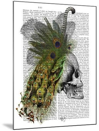Skull With Feather Headress-Fab Funky-Mounted Art Print