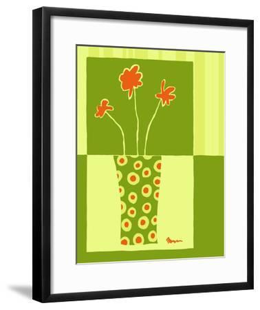 Minimalist Flowers in Green I- Goldberger & Archie-Framed Art Print