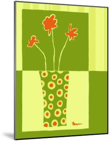 Minimalist Flowers in Green I- Goldberger & Archie-Mounted Art Print