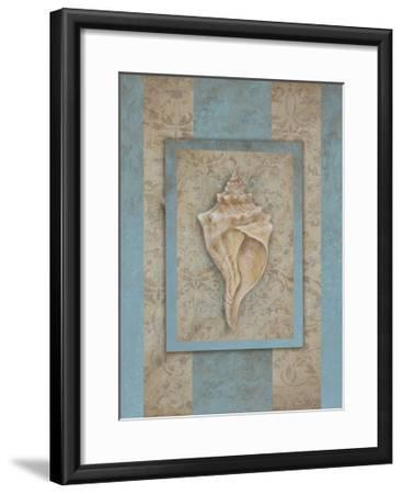 Shell & Damask Stripe II-Rita Broughton-Framed Art Print