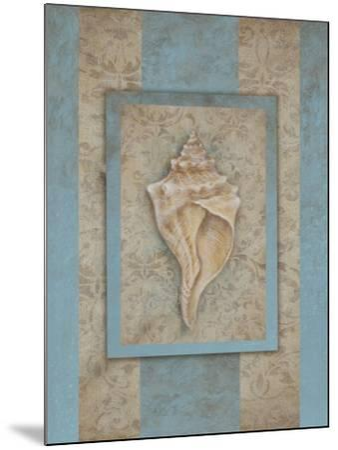 Shell & Damask Stripe II-Rita Broughton-Mounted Art Print
