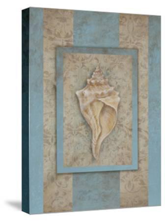 Shell & Damask Stripe II-Rita Broughton-Stretched Canvas Print