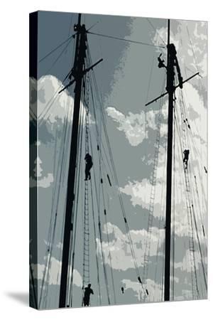 Caribbean Vessel IV-Carolyn Longley-Stretched Canvas Print