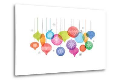 Christmas Backgound with Christmas Balls, Watercolor Vibrant Colors Christmas Decoration, Merry Chr-Marish-Metal Print