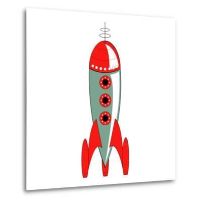 Vintage or Retro Fifties Sci Fi Style Rocket or Spaceship.-Clip Art-Metal Print